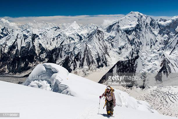 Scouting expedition above Camp 3 on Spantik on a mountaineering expedition in Pakistan.