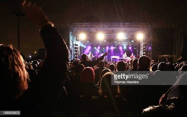 Scouting for Girls headline The Newark Festival 2012 during heavy rain throughout the evening.