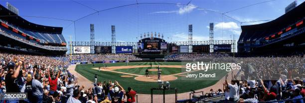 Scouts area view of US Cellular Field from behind home plate as left fielder Carlos Lee of the Chicago White Sox rounds the bases after hitting a...