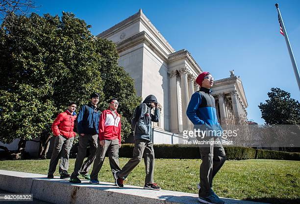 Scouts arrive at the National Archives to view historic documents From right Adam Muhammad Osman Syed Ammar Muhammad Safwan Khan 14 and Karim Maggio...