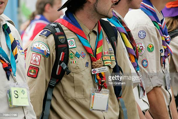 Scouts attend the opening of the 21st World Scout Jamboree at Hylands Park on July 28 2007 in Chelmsford England