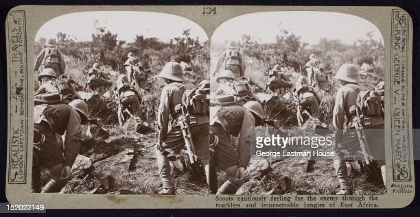 Scouts cautiously feeling for the enemy through the trackless and impenetrable jungles of East Africa ca 1915