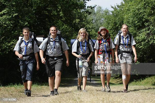 Scouts hiking through a woodland on August 1 2010 in Almke near Wolfsburg Germany About 5000 young scouts from Germany Russia Belgium Suisse USA and...