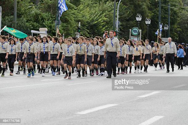 SQUARE ATHENS ATTICA GREECE Scouts march past the Greek Parliament and the review stands in the 'Oxi Day' parade in Athens School students marched in...