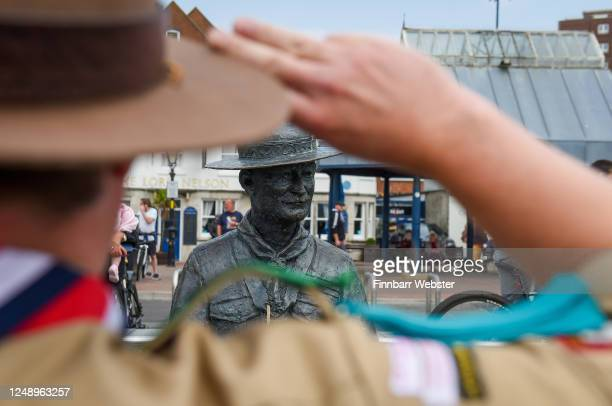 Scouts show their support at the Lord Baden-Powell statue on June 11, 2020 in Poole, United Kingdom. The statue of Robert Baden-Powell on Poole Quay...
