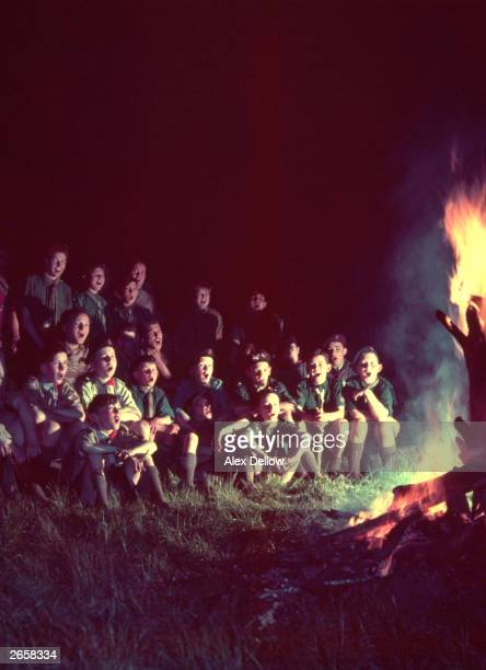 Scouts singing round the campfire Original Publication Picture Post 9009 This World Of Scouts unpub