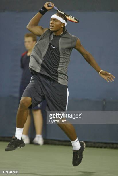 Scoville Jenkins, of the USA in action, during his 7-5, 6-4, 6-4 loss to Sweden's Jonas Bjorkman in the first round of the US Open, at the USTA...