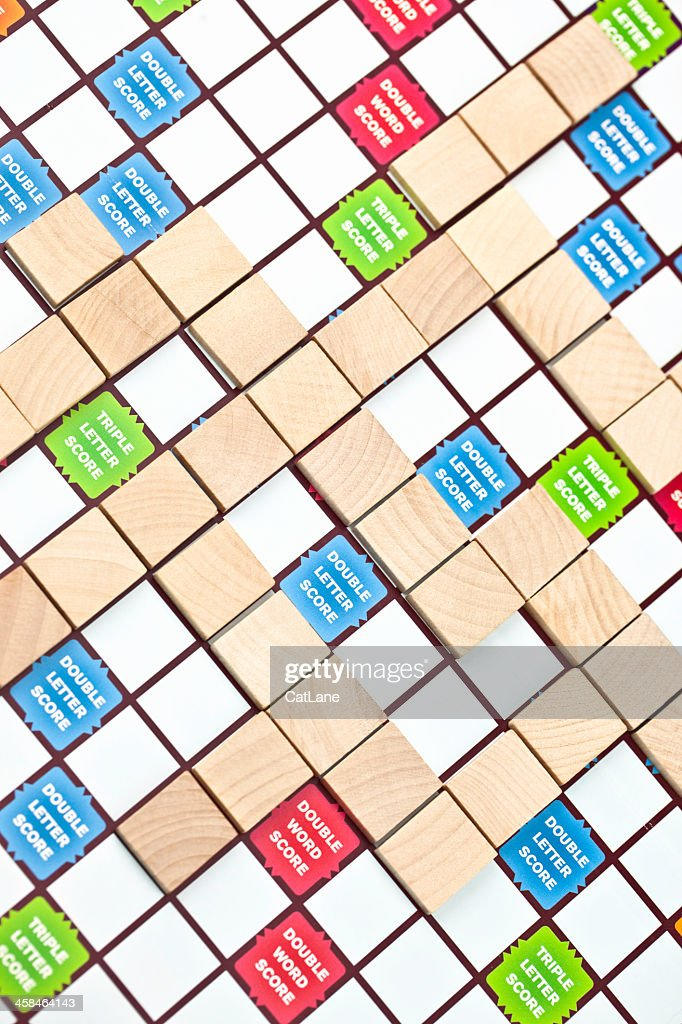 Scrabble Board With Blank Tiles Stock Photo