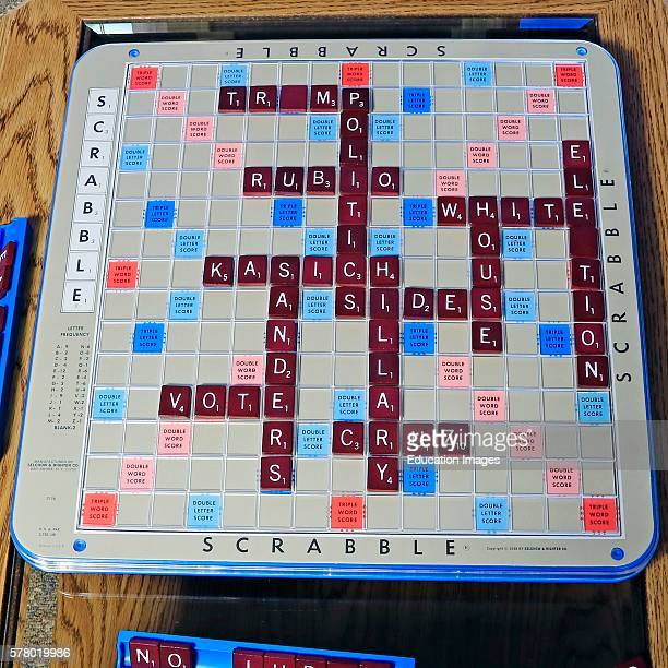 Scrabble¨ board with political words and names of some 2016 US presidential hopefuls spelled out