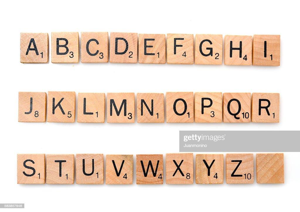 Scrabble complete alphabet : Stock Photo