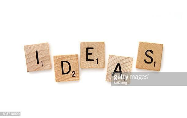 Scrabble letter tiles spelling out IDEAS