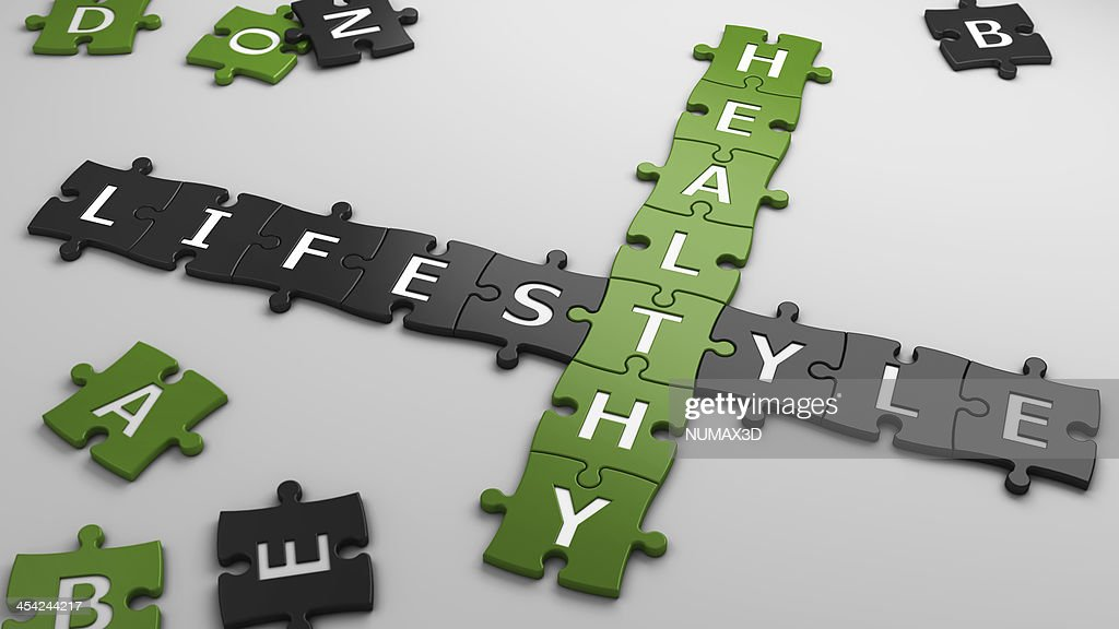 Scrabble letters used to spell healthy lifestyle : Stock Photo