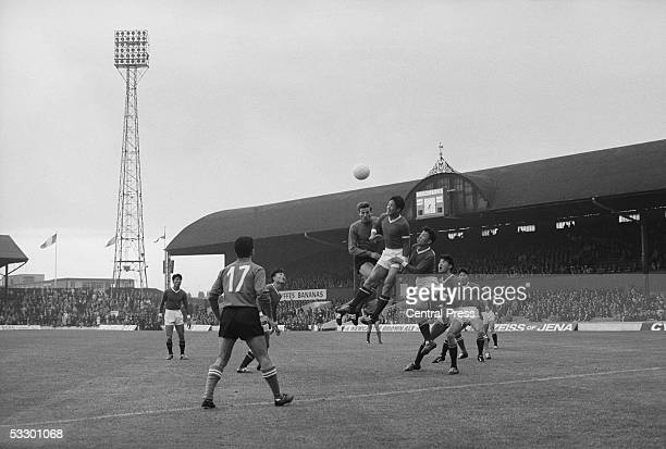 A scramble in the Italian goalmouth during North Korea's match against Italy at Ayresome Park Middlesbrough 19th July 1966 North Korea won 10