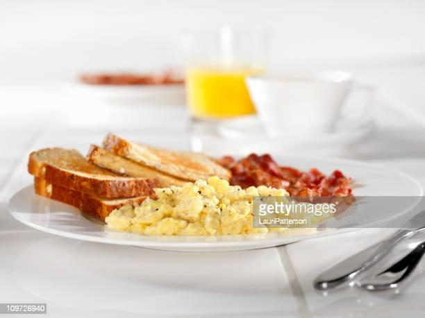 Scrambled Eggs with Bacon and Toast