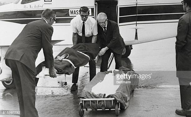 The body of Mary Jo Kopechne former employee of the late Sen Robert F Kennedy is removed from a charter plane at WilkesBarreScranton airport here...