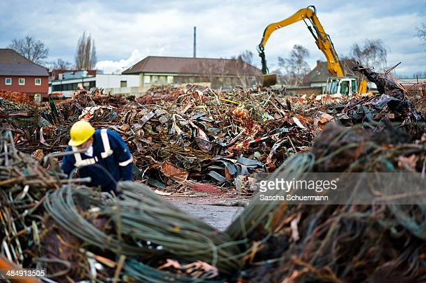 Scrap copper sits in a heap ahead of recycling at Aurubis AG metal refinery on February 7 2014 in Luenen Germany Aurubis is Germany's biggest...