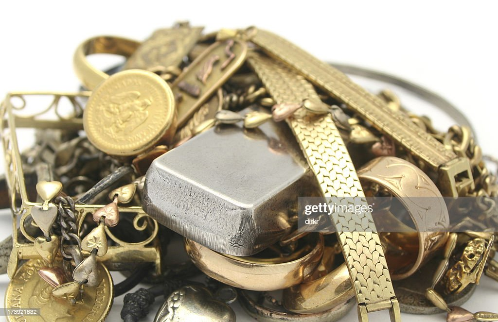 Scrap Gold and Silver : Stock Photo