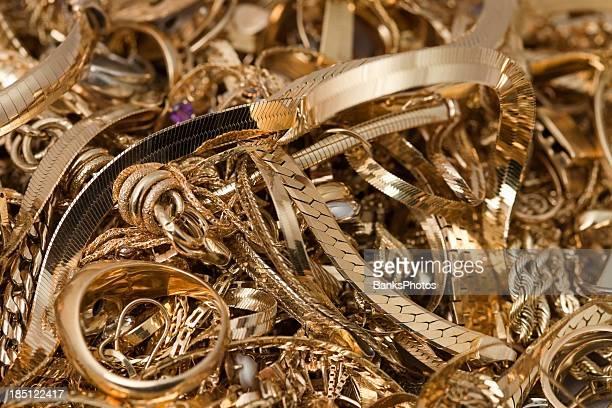 scrap gold pile - scrap metal stock photos and pictures