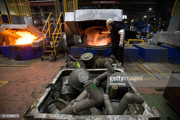 Scrap metal from rejected work and offcuts waits to be loaded into furnaces in the melting department at the foundry of Weir Minerals Europe Ltd a...