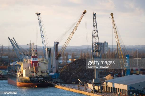 Scrap metal is loaded on to the Strategic Vision ship of Singapore at the Port of Southampton on February 10 2019 in Southampton England The Port of...