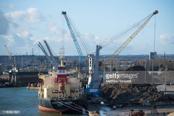 Scrap metal is loaded on to the Strategic Vision ship of Singapore at Southampton Port on February 10 2019 in Southampton England The Port of...
