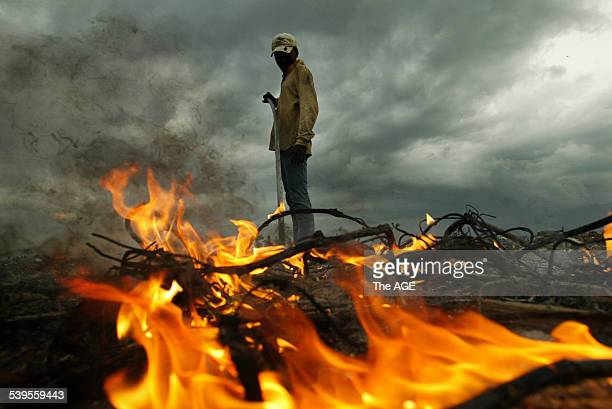 A scrap metal recycler burns the rubber off electrical wire to sell in Banda Aceh after the tsunami Taken 3rd February 2005 THE AGE NEWS Picture by...