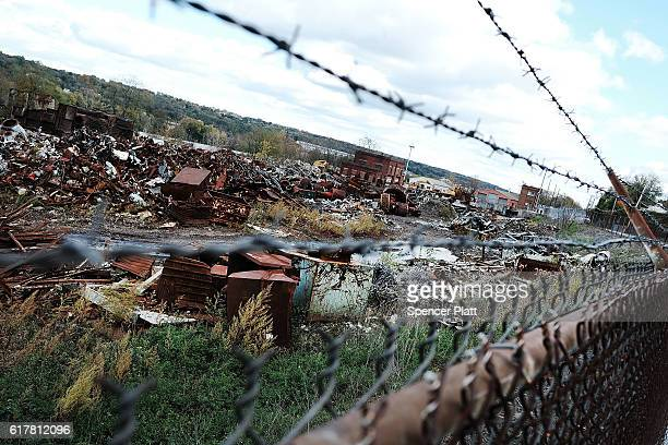 Scrap steel from a demolished factory sits in a yard on October 24 2016 in Youngstown Ohio Ohio has become one of the key battleground states in the...