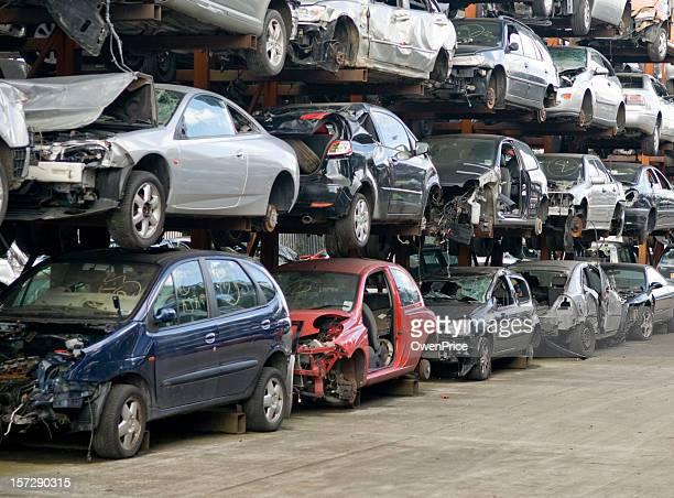 scrap vehicles - junkyard stock photos and pictures