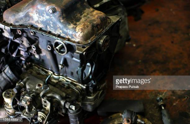 scrap yard for recycle the old car engine, - rusty old car stock pictures, royalty-free photos & images