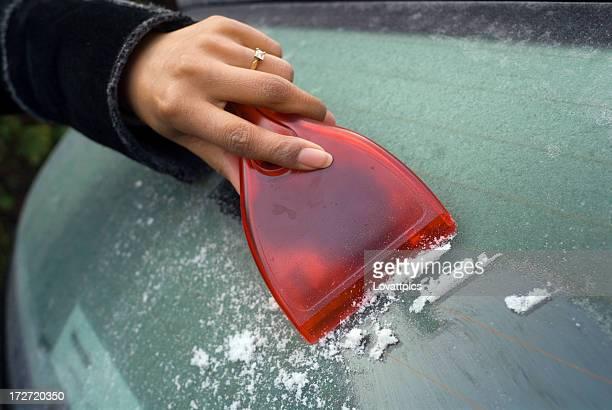 scraping a Frozen windscreen