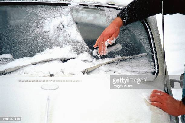 scraping ice off car window - scraping stock photos and pictures