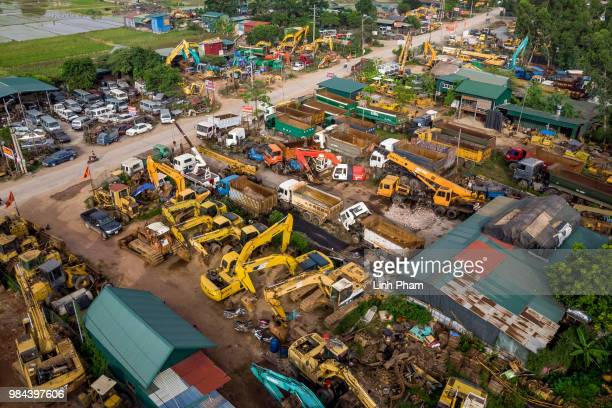 Scrapyards line up on the main road of Te Lo village can be seen from an aerial shot on June 25 2018 in Te Lo Village Yen Lac District Vinh Phuc...