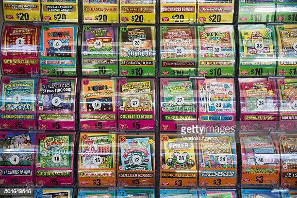Scratch Off games for sale with PowerBall tickets at Best Beer Wine and Deli in Gaithersburg Md USA on January 11 2015 After no one picked the...
