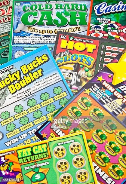 scratch off lottery tickets - lottery ticket stock pictures, royalty-free photos & images