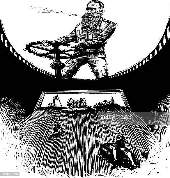 Scratchboardstyle illustration of Fidel Castro turning floodgate on a dam and letting flood of Cuban refugees pour out