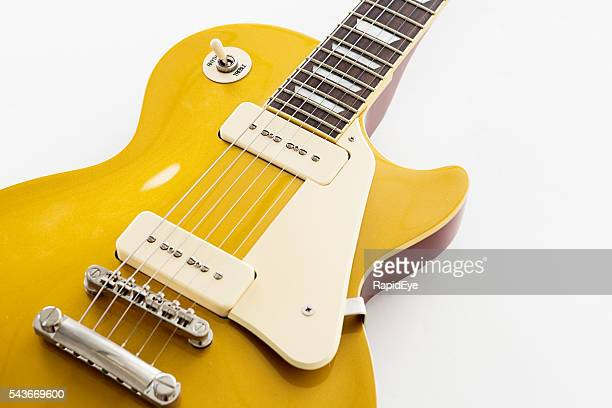 scratchplate and strings on '56 les paul pro electric guitar - gibson les paul stock pictures, royalty-free photos & images