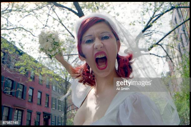 Screaming bride with bouquet