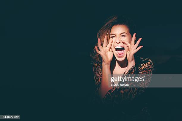 screaming for help - hysteria stock pictures, royalty-free photos & images