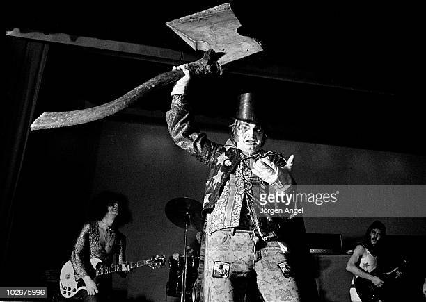 Screaming Lord Sutch aka David Sutch performs on stage with his Jack The Ripper show in 1974 in Copenhagen Denmark