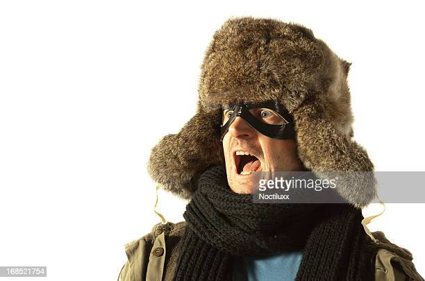 screaming siberian superhero - fur hat stock photos and pictures