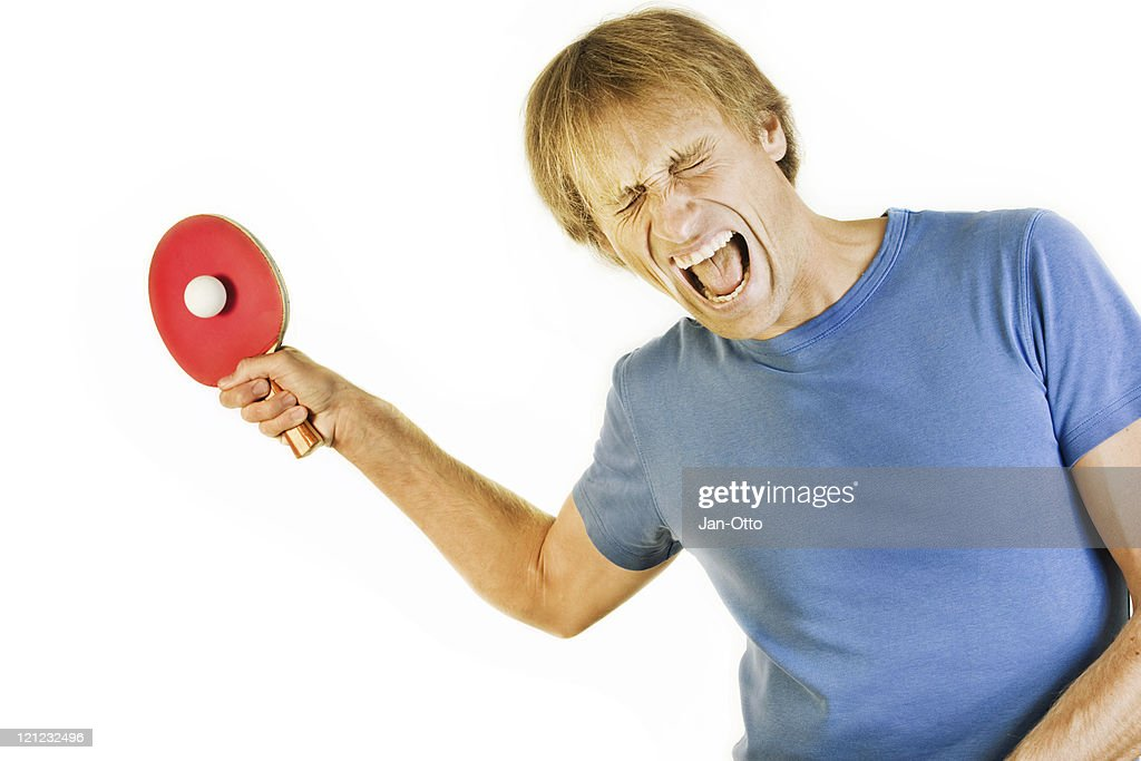 Screaming table tennis player : Stock Photo