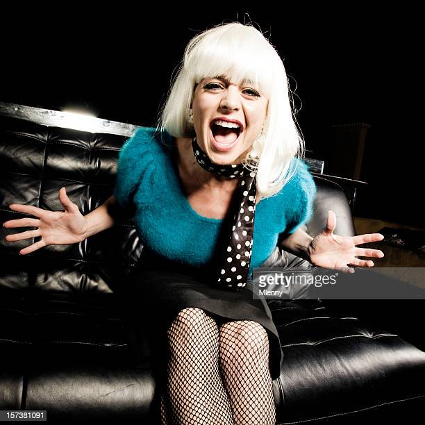 screaming woman - legs and short skirt sitting down stock pictures, royalty-free photos & images