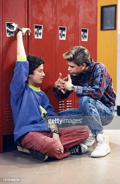 """Screech's Woman"""" Episode 5 -- Air Date -- Pictured: Dustin Diamond as Screech Powers, Mark-Paul Gosselaar as Zachary 'Zack' Morris -- Photo by: Paul..."""