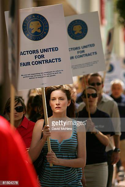 Screen Actors Guild members and supporters hold a solidarity rally regarding contract negotiations outside the Screen Actors Guild National...
