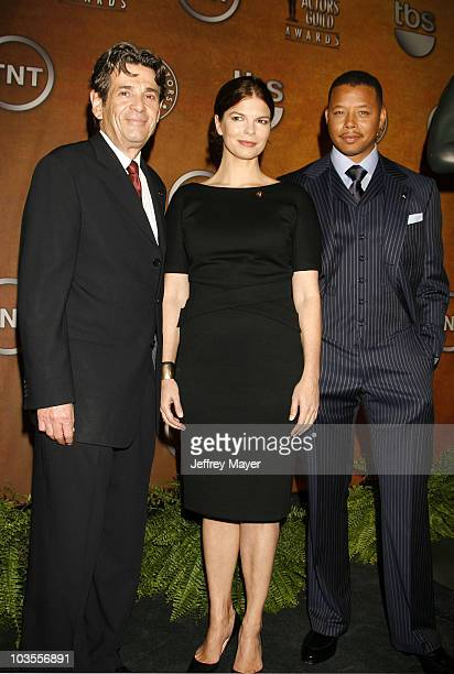Screen Actors Guild President Alan Rosenberg and actors Terrence Howard and Jeanne Tripplehorn attend the 14th Annual Screen Actors Guild Awards...