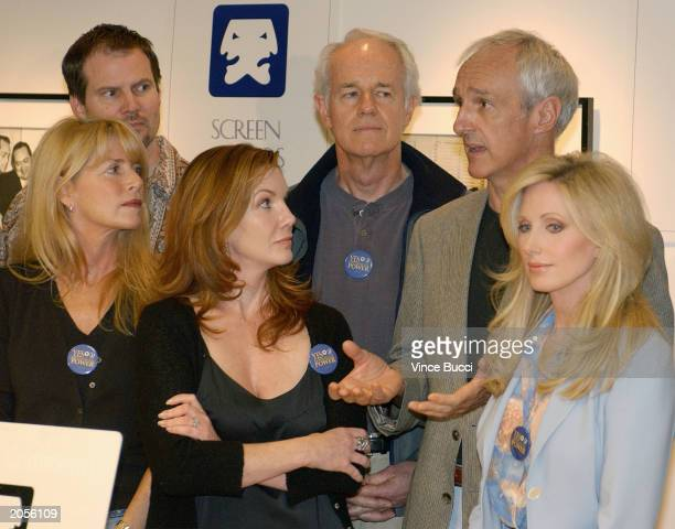 Screen Actors Guild President Melissa Gilbert flanked by fellow actors Marcia Strassman and Morgan Fairchild and at rear Jack Coleman Mike Farrell...