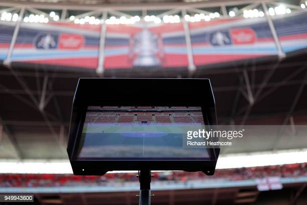 VAR screen ahead of the The Emirates FA Cup Semi Final match between Chelsea and Southampton at Wembley Stadium on April 22 2018 in London England