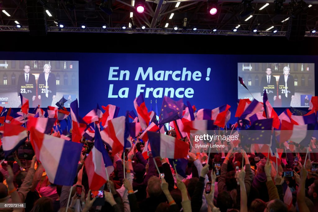Presidential Candidate Emmanuel Macron Hosts A Meeting At Parc Des Expositions In Paris : News Photo
