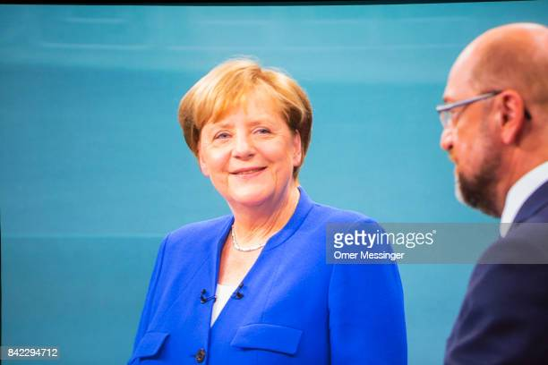 A screen capture as seen from the Adlershof television studios were the live broadcast of the television debate between German Chancellor and...