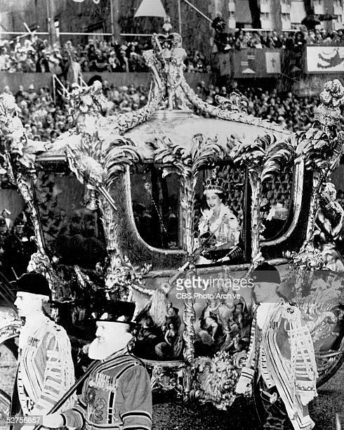 Screen capture from CBS television coverage of Queen Elizabeth II of England, Great Britain and Northern Ireland, and all the Dominions across the...